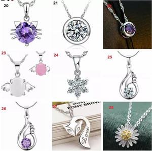 45 Styles 925 Sterling Silver Pendentif Collier sans chaîne Mode Charms Pendentifs Colliers Pendentifs de fleurs de cristal perles
