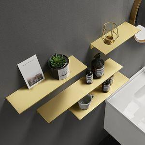 Metal Cosmetic Quadro Nordic Banho armazenamento Rack ouro escovado Canto prateleira 60 centímetros prateleira do banheiro Wallmount de Alumínio Acabamento