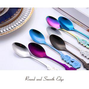 Hot Stainless Steel Rose Spoon Musical Coffee Ice Cream Teaspoon Metal Tableware Stirring Spoon Delicate Workmanship for Home Ba