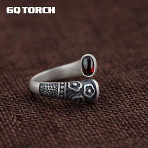 GQTORCH vitnage Thai plata anillos de plata esterlina 925 para las mujeres con incrustaciones de piedras preciosas granate rojo natural Flor grabada Grenat CJ191205