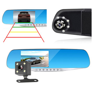 """2 canales 1080P Full HD monitor de aparcamiento espejo grabador digital de dashcam 170 grados de visión nocturna G-sensor 4.3"""" coche DVR de la lente de auto"""