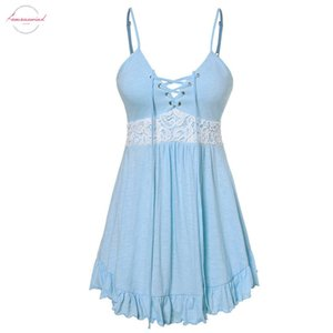 2020 New Summer Women Camis Sexy Sleeveless Cross Bandage Grommet Lace Patchwork Ruffles Candy Color Long Top 9042032
