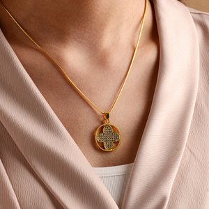 Gold Filled CZ Cross Necklace for Woman Cubic Zirconia Long Crystal Necklace Jewerly 2020 cademas cruces Cross Pendant