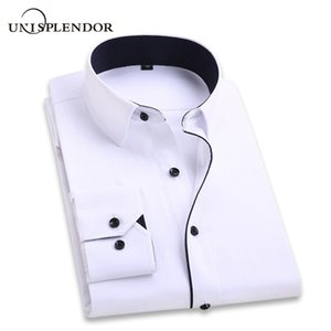2020 Men Wedding Shirt Long Sleeve Men Dress Shirts Man Business Party Solid Casual Shirt Work Wear Formal Slim Male Shirt YN554 MX200518