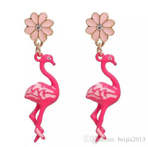 Free Shipping! Earrings Gold Color Pink Flamingo Flower Clear Rhinestone Enamel 47*11mm Post  Wire Size: (21 gauge), 1 Pair christmas
