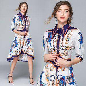 Moda Runway Vestido Verão Mulheres fêmea lapela Collar meia manga Mudança Irregular Midi shirt