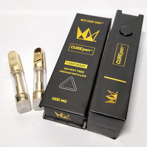 West Coast Cure Vape Pen Cartridges 0.8ml 1.0ml CurePEN Empty Vapor Ceramic Coil Gold Tip Carts Glass Tank Childproof Box Packaging