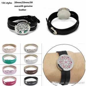 134 style 316L stainless steel aromatherapy locket bracelet 20mm 25mm 30mm Genuine leather Essential Oils Diffuser bracelets with Free pads