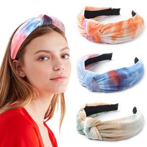 Tie-dye noueuse velours Bandeau Chouchou Femme épais Cheveux Flanelle Bandeau Mode pour Accessoires cheveux Wash Face Femmes