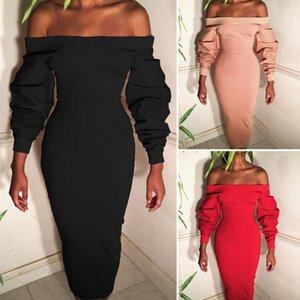 Seksi Kadınlar Elbise Günlük Yaz Sonbahar Kapalı Omuz Sabit Kırmızı Siyah Pembe Uzun Kollu Parti Akşam OL Elbise