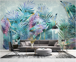 personalizzato foto 3D carta da parati spazio 3D dipinto a mano nordico foglie di piante tropicali moderno e minimalista tv parete di fondo wallpaper per pareti 3 d