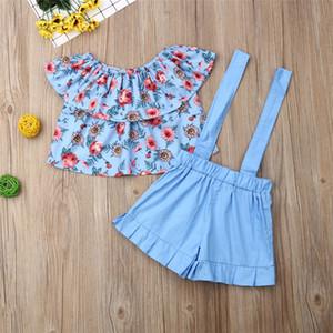 Neonate Outfits cortocircuito delle cime + cinghie Shorts 2 Pezzi Set di abbigliamento 2020 capretti di estate floreale Pantaloncini spalle insiemi T-shirt E22603