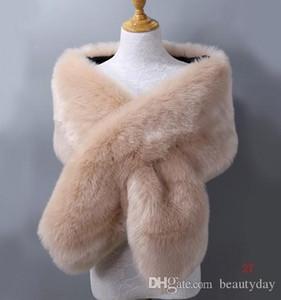 Kış Sahte Kürk Düğün Gelin sarar Sıcak Prom Akşam Partisi için Dış Giyim Kadın ceketler şallar 20 Renkler Ücretsiz Boyut 65 '' * 13 '' Temiz Stok