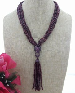 "FC040603 19 ""7Strands Garnet Rhinestone Pendant Necklace"
