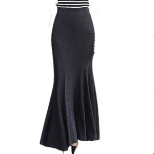 Kış Uzun Etek 2017 Günlük Kadınlar Yüksek Bel Slim Fit Elastik Örme Denizkızı Siyah Bilek uzunluğu Maxi Etekler Y200326