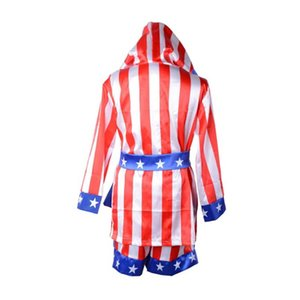 Оптовая продажа-Boy Boxing Costume Kids Rocky Balboa Robe Movie Apollo американский флаг Pattern / Итальянский жеребец Хэллоуин костюм талисмана для детей