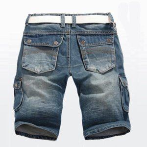 Erkek Şort Yaz Kot Denim Düz Çok Cep Baggy Kargo Pantolon Erkekler Kovboy Dipleri Artı Boyutu 40
