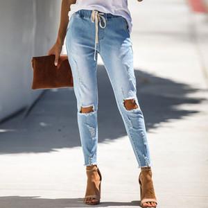 Delle Donne Di Modo Distrutto Strappato Distressed Slim Denim Jeans Foro Matita Pantaloni Hem Strings Hot Jeans