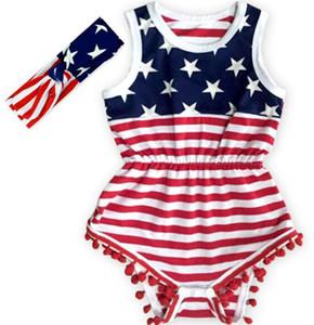 USA Drapeau Jumpsuit Bébés filles Tassel manches Romper Drapeau américain Imprimer barboteuses nouveau-né Kids USA Jumpsuit avec Bandeau GGA3364-2