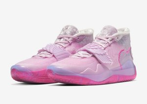 الوردي KD 12 العمة لؤلؤة أحذية الأطفال والأحذية للبيع مع صندوق الجديد كيفن دورانت 12 لكرة السلة تخزين الشحن المجاني US4-US12