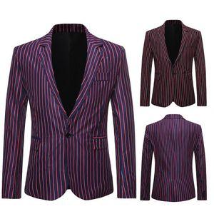 남성 디자이너 재킷 2020 새로운 남성 봄 가을 의류 수직 스트라이프 인쇄 의상 정장 슬림 재킷 캐주얼 재킷과 정장