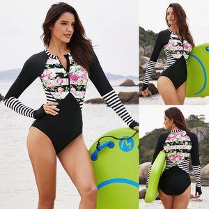 Triangl Swimwear Verão Roupa Swim Wear acolchoado Biquini floral impresso conservador One Piece Surfing Suit Polyester Swimwear para mulheres
