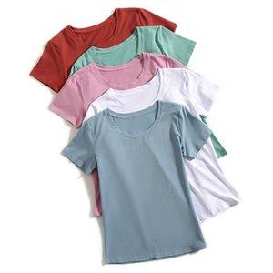 Gigogou Mulheres Camiseta de Manga Curta Básica Camiseta 98% Algodão Tshirt Plus Size 3xl Doce Cor Senhoras T-shirt Verão Camiseta Femme Y19051104