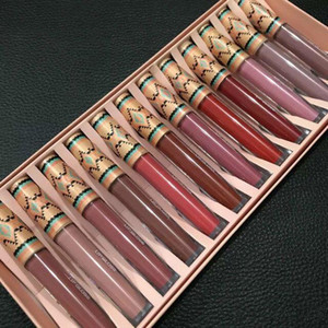 Hot selling ! Matte Vibe Tribe Lip Gloss 12PCS Set Liquid Lipstick Lip Moisturizer Long-lasting Natural 12 Colors DHL free shipping