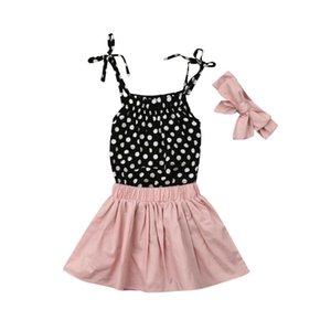 Pudcoco 2019 verano niño bebé niña chaleco sin mangas mamelucos lunares + faldas cortas de color rosa conjunto de ropa conjunto