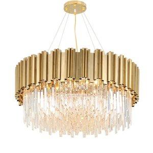 Сид постмодерна круглый золотой нержавеющей стали хрустальная люстра освещение блеск подвесной светильник потолочный для комнаты dinning