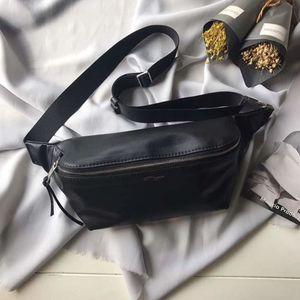 Deri Bel Çantaları Klasik Siyah Buz Sapları En Kaliteli 3 ADET Kartları Slots Unisex Rahat Göğüs Çantaları 26 cm Geniş Büyük Hacimli Kullanışlı Çanta