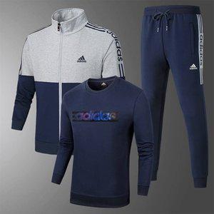 3шт набор Sweatsuit Мужские письма Печатает костюмы женщин Марка Толстовка свитер + брюки Мода Беговая спортивные костюмы Мужская одежда AD6818 #