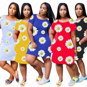Abbigliamento nuova delle donne Summer Floral Crisantemo Stampa Abiti femminile del bicchierino di modo Sleev ginocchio abito Sports Party Abbigliamento S-XXL D5606