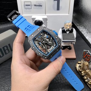 RM factory 44.5mm TPT carbon fiber high quality automatic machinery men's watch waterproof rm53-01 rm53 skull dial blue black rubber sports