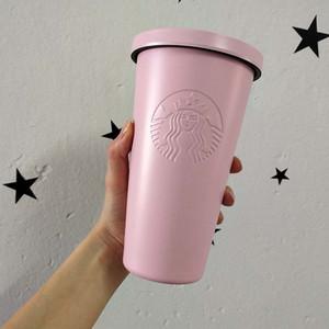 Coffee Cup modo della tazza Starbucks in acciaio inox Nordic caramella di stile INS Ufficio Coppia 400ml Starbucks paglia Coppa d'isolamento