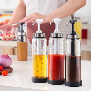 Squeeze Bottle Honey Pots Jar Glass Food Storage Containers Creative Nozzle Oil Oyster Sauce Bottle Seasoning Sealed Container