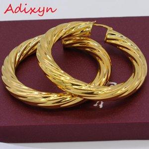 여성 골드 컬러 황동 트위스트 귀걸이 아랍에 대한 Adixyn 아프리카 큰 후프 귀걸이 / 에티오피아 N01095
