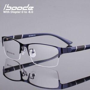 iboode Yarım Çerçeve Erkekler İş bitirdi Miyop Gözlük Metal Retro Karşıtı Mavi Işık Miyop Gözlük Çerçevesi Kadınlar Diyoptri 0 -1.0 ~ 6.0