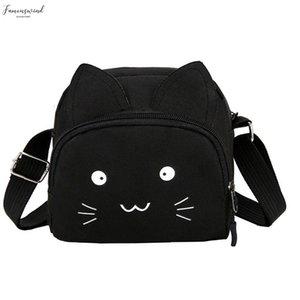 Women Shoulder Bag Cut Cat Pure Color Casual Tote Outdoor Bag Canvas Handbag Zipper Messenger Bags Sac Main Femme T1p