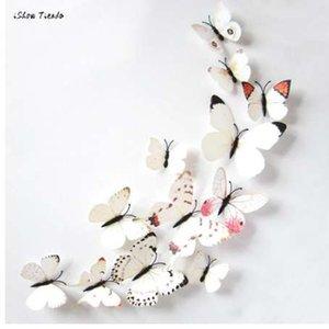ISHOWTIENDA Nuevo 12 unids Pegatina Arte Diseño Calcomanía Pegatinas de Pared Decoraciones para el hogar 3D Mariposa Imanes de Nevera Etiqueta de Refrigerador