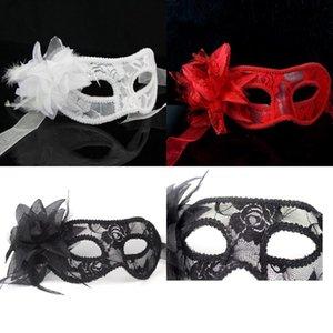 Máscaras de máscaras venecianas con plumas de color negro blanco rojo para una máscara enmascarada Máscaras de flores de encaje 3 colores