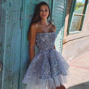 Bling Bling Scisted Tulle Новый выпускной Prong Pageant платья без бретелек Открыть задние короткие домохозяйственные платья Специальный случай девушки выпускные вечеринки платья