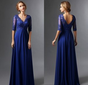 Royal Blue Long Women Mother of The Bride Groom Dress with Sleeves V Neck Chiffon Appliques Beaded Backless Elegant Evening Formal Dresses