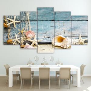 5pcs aucun cadre peinture sur toile coquillages et étoiles de mer plage mur art image bureau oeuvre décor à la maison