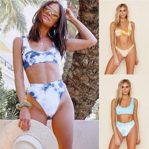Encre imprimée taille haute Bikini Sexy Ladies été courte Crop Top Maillot de Split Mode féminine Maillot de bain