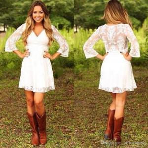 Vestidos Bianco corto pizzo pizzo cowgirls campagna abiti da sposa damigella d'onore con 3/4 maniche lunghe mini abiti da sposa abiti da sposa accoglienza