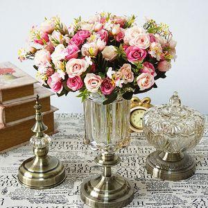 13heads silk roses Bride bouquet Wedding christmas decoration for home vase ornamental flowerpot artificial flowers scrapbooking GH2569
