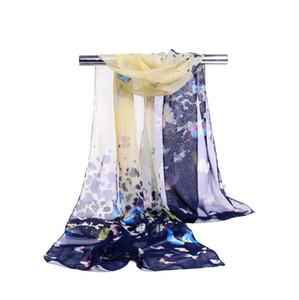 مصنع بالجملة الحرير الشيفون وشاح المرأة طرحة طويلة الفراشة الحيوان Printe ردائه التفاف شاطئ تغطية 160 * 50CM دي إتش إل الحرة