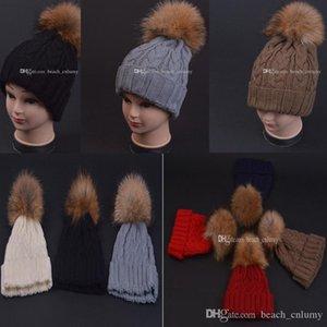 Fashion Women Wool Fur ball Caps Beanies Winter Warm Hats Knitted Wool Fur ball Pom Poms Hemming Hat Skullies Bonnet female Accessories