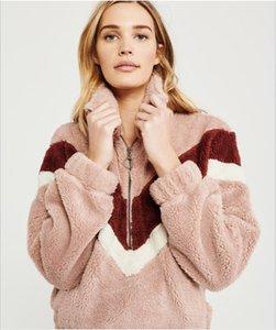 Women's Hoodies Sweatshirts pink clothes Flocking jumper designer Lapel thickening fashion Pocket zipper Cardigan female Jacket Plush coat